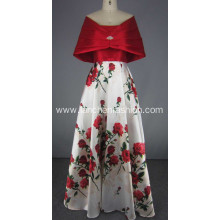 Red Evening Gown Long Dress with Scarf