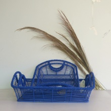 blue rectangular iron wire storage basket