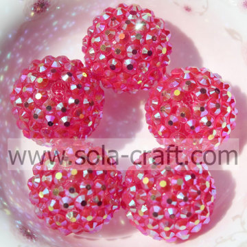 Sparking Clear Red AB 20*22MM Resin Rhinestone Round Beads For Necklace