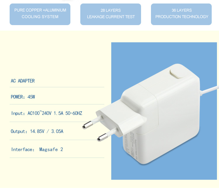 14.85v 3.05a eu plug wall adapter for macbook laptop