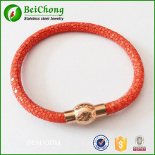 red stingray leather rose gold stainless steel magnetic bracelet bangles