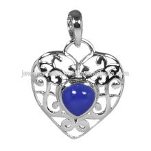 Colar de prata sólida em forma de coração Blue Onyx 925