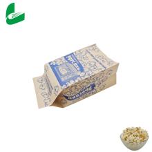 Venta al por mayor de fábrica, embalaje biodegradable transparente personalizado, sellador de microondas, semillas de palomitas de maíz, bolsa de papel / bolsa de plástico para palomitas de maíz