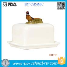Plato de mantequilla de cerámica decorativo del utensilio de cocina de la tapa