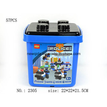 Promotional Police Building Block Toy for Baby with Bucket