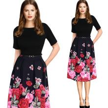 Women Elegant Vintage Polka DOT Summer Tunic Girded Models Wear to Work Office Party Dress