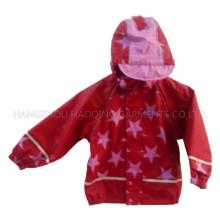 Red Star Hooded PU Rain Jacket/Raincoat