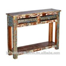 Table en bois robuste avec deux tiroirs