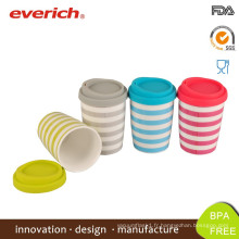 Everich Double Wall en porcelaine et tasse en céramique avec couvercle en silicone
