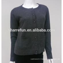 chandail de cardigan de cachemire pur des femmes tricotées en gros plat