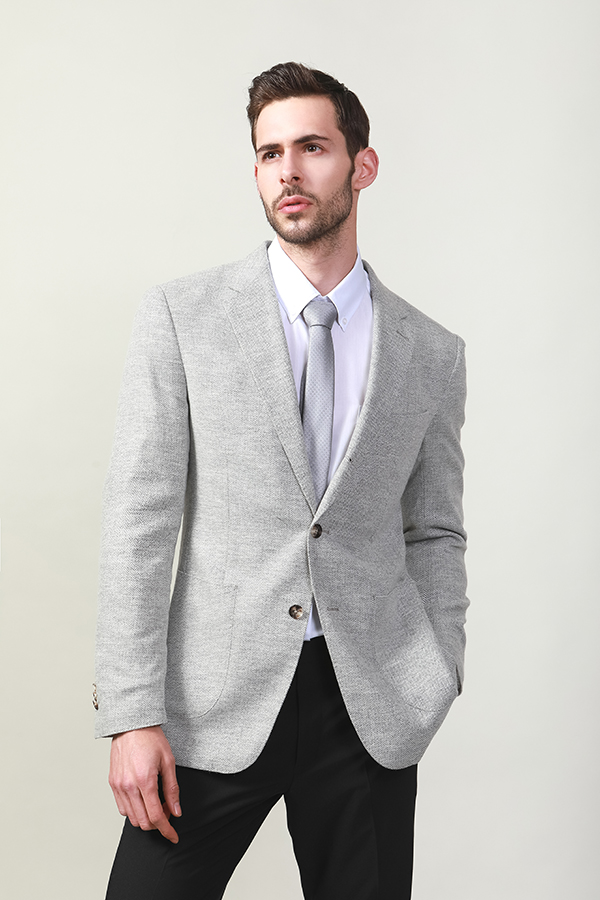 MEN'S LIGHT GREY MELANGE JACKET
