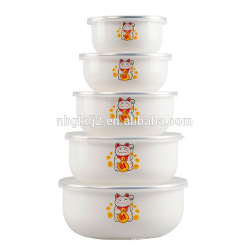 10/12/14/16/18cm enamelware storage bowl set with SS rim and plastic lid