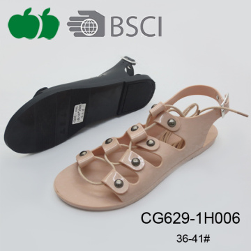 Fashion Ladies Latest Flat Pvc Crystal Plastic Sandals