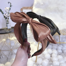 wholesale Solid Color Big Butterfly Knot Hair Accessories Head Band Custom Fashion Designer Silk Headbands