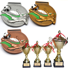 Cheap Custom Brass Souvenir American School Hard Enamel Football Logo Award Medal And Trophies For Sale