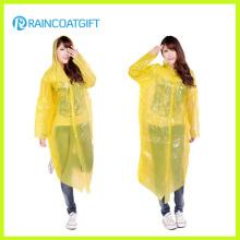 Langer Hülse Gelb PE Frauen Regenmantel