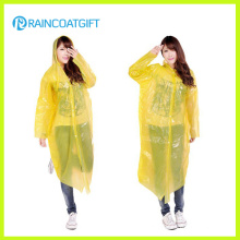 Women′s Clear Disposable Plastic Raincoat with Sleeve