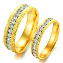 El último anillo de compromiso de la pareja del diamante de la forma CZ, precio bajo Conjunto del anillo de la boda de la broca del oro de la piedra preciosa de Arabia Saudita