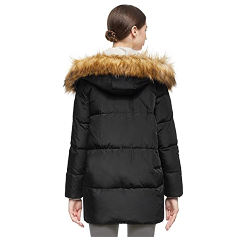 Women S Thickened Mid Length Down Jacket With Removable Fur Hood Large Pockets1