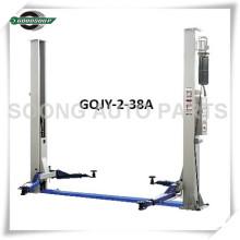 Elevador de dos postes GQJY-2-38A Sistema de elevación de dos cilindros Sistema de conducción doble Cerraduras de seguridad dobles