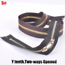 5 # Two-Way Open-End, Dentes Y, Latão dourado Zipper