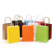 Supermarket use recyclable medium size raw material paper bag with handle