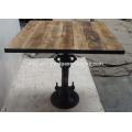 Industrial Jack Crank Bar Table Square Mango Top Wood Iron Encadré