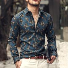 Autumn New Printed Shirts Men Long Sleeved Shirt Slim Men′s Casual Shirt