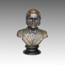 Bustos Estatua Músico Chopin Bronce Escultura TPE-620