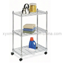 3 Tiers Metall Draht Stand Rolling Regal Regal Display Rack