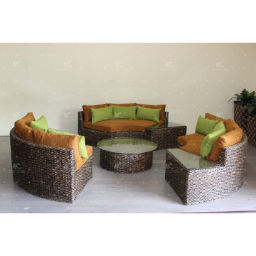 Inventive Design Natural Water Hyacinth Sofa Set for Living Room