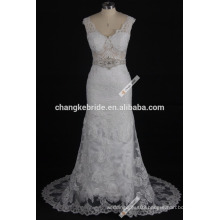 Western Pattern Lace Top Cap Sleeve Satin Bridal Bateau Neckline Lace Vintage Wedding Dress