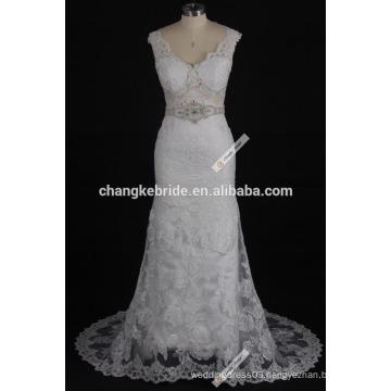 Western Pattern Lace Top Cap Sleeve Satin Bridal Bateau Neckline Lace Vintage Wedding Dress