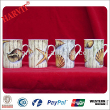 China Manufacturer Drinkware Mug Cup/White Porcelain Decal Cups Mugs 9OZ/Fine White Mug With Seashells Starfish Decal Printing