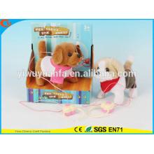 Hot Sell Kids' Toy Beautiful Walking Electric Skip Plush Gray Dog