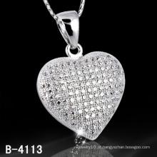 Novos Estilos 925 Sterling Silver Micro Setting Coração Forma Pingente