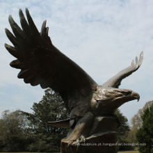 artesanato de metal de fundição de bronze escultura de águia de bronze grande para jardim