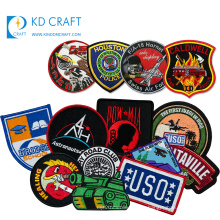 Wholesale china customized woven iron on badges fabric letter brand large 3d single custom embroidered patches for clothing