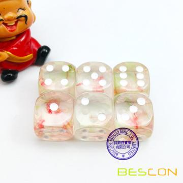 Two Tone Nebula Game Dice Set of 6pcs, Crystal Clear Nebulous Six Dides D6 Dice 16MM, Nebulous Cube 5/8 Inch, 6pcs Dice Set
