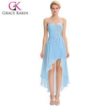 Grace Karin 2016 Neue Design trägerlosen High Low Sequins Sky Blue Chiffon Cocktailkleid GK000042-3
