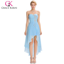 Grace Karin 2016 New Design Strapless High Low Sequins Sky Blue Chiffon Cocktail Dress GK000042-3