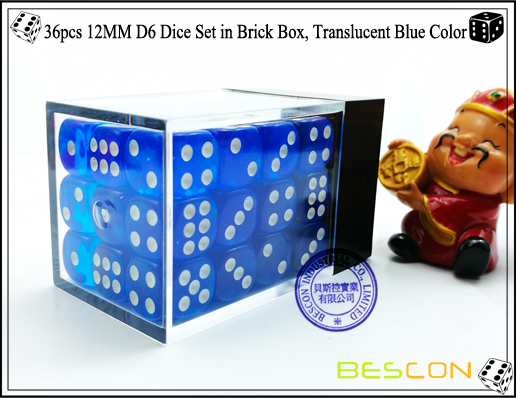 36pcs 12MM D6 Dice Set in Brick Box, Translucent Blue Color-3