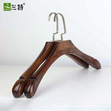 antique lotus shiny wooden coat hangers wholesale