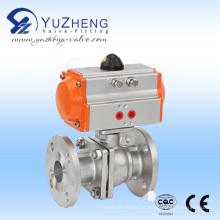 2PC válvula de esfera de aço inoxidável com atuador pneumático