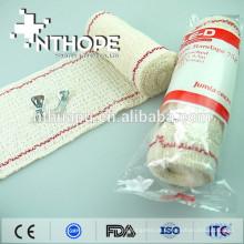 Atadura de crepe elástico médico com fio vermelho