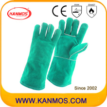Cuero de vaca verde Split cuero de seguridad industrial de trabajo mano guantes de trabajo (111031)