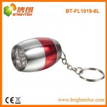 Vente en vrac en vrac en forme d'oeufs Promotionnel 6 lampadaires en aluminium à LED avec porte-clés