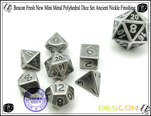 Bescon Fresh New Mini Metal Polyhedral Dice Set Ancient Nickle Finishing-1