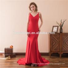 Luxury Elegant 2018 Long Evening Dresses spaghetti strap deep v neck front short long back red eveing dress 2018