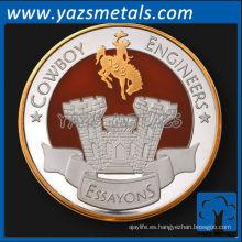 moneda del comandante de níquel de metal personalizado con acabado antiguo y esmalte